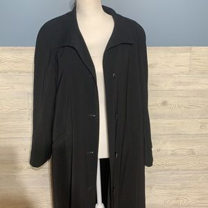 Vintage Fleet Street long black button up trench with zip out lining